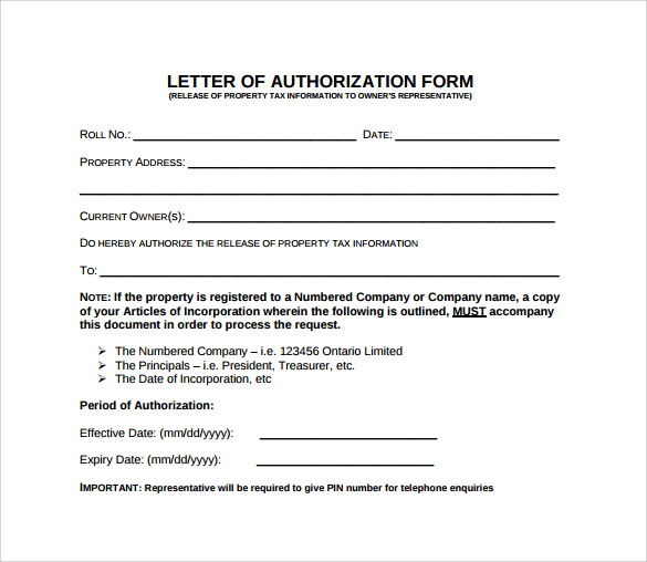Sample Letter Of Authorization Form Example   Download Free