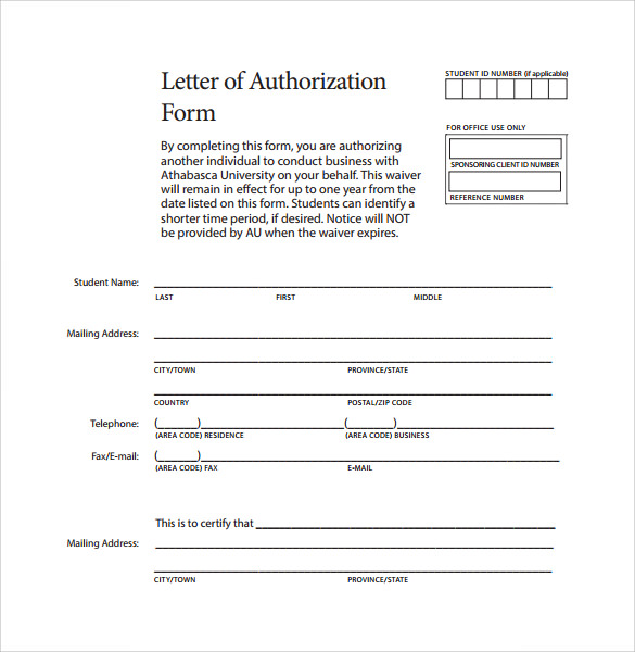 Sample Letter Of Authorization Form Example - 8+ Download Free