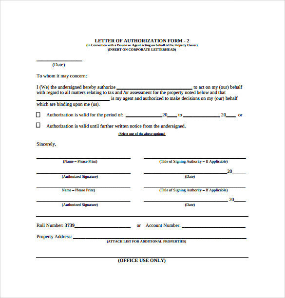 sample letter of authorization form example