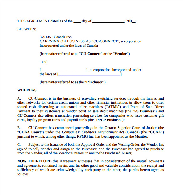 Sample Business Purchase Agreement   Documents In Pdf Word