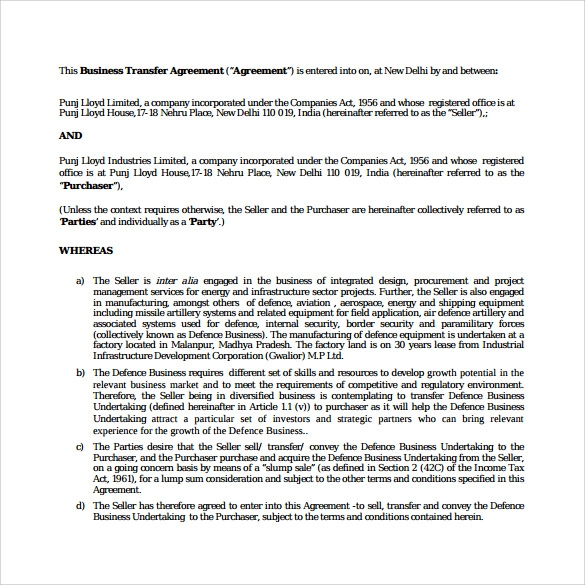 free download business purchase agreement