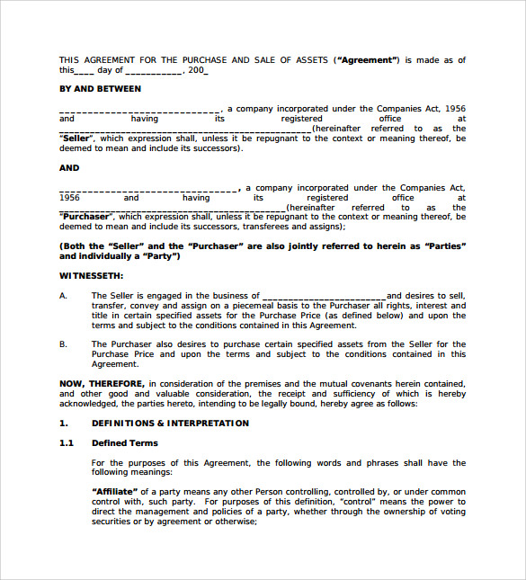 Sample Business Sale Agreement 8 Free Documents Download In – Purchase Agreement Sample
