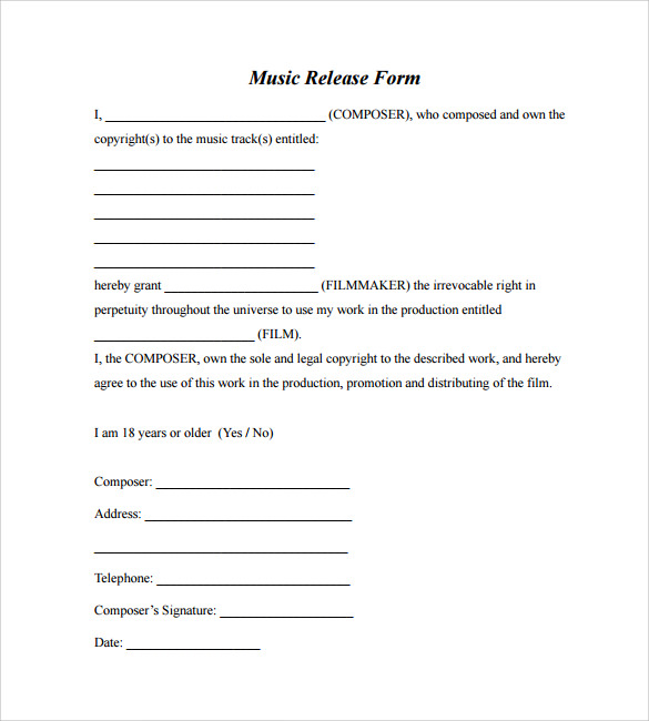 Sample Music Release Form   Download Free Documents In Pdf