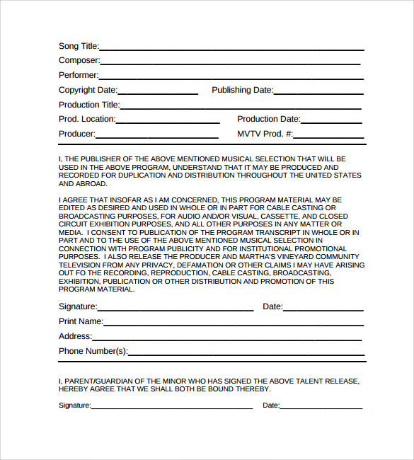 example of music release form