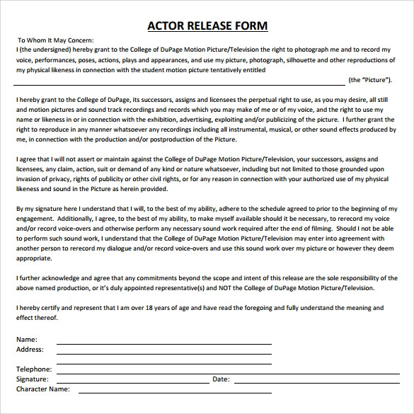 Free Download Actor Release Form