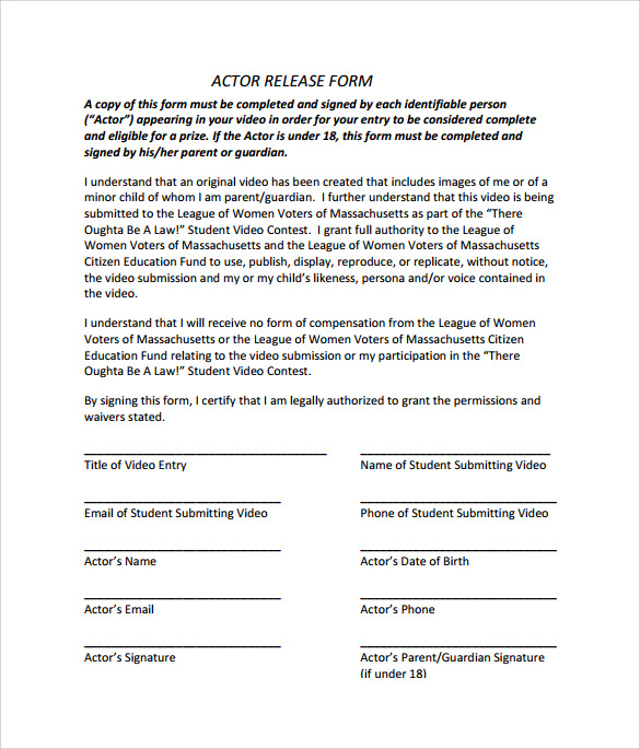 acting contract template - 10 sample actor release forms to download sample templates