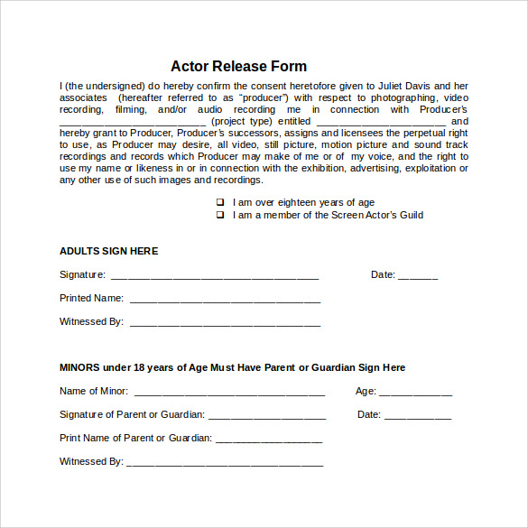 Sample Actor Release Form  KakTakTk