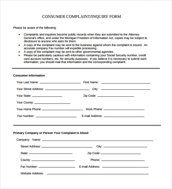 Sample Consumer Complaint Form - 7+ Free Documents In Pdf, Word