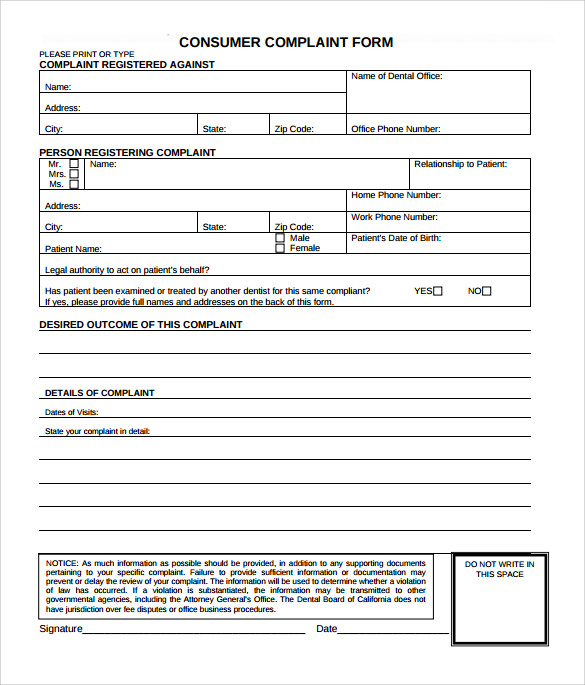 Sample Consumer Complaint Form   Free Documents In Pdf Word
