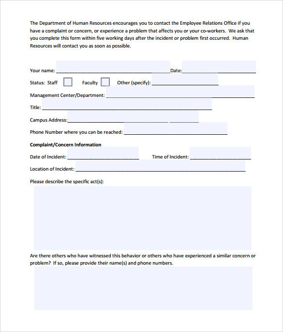 Sample Employee Complaint Form Template 7 Download Free – Employee Complaint Form Example