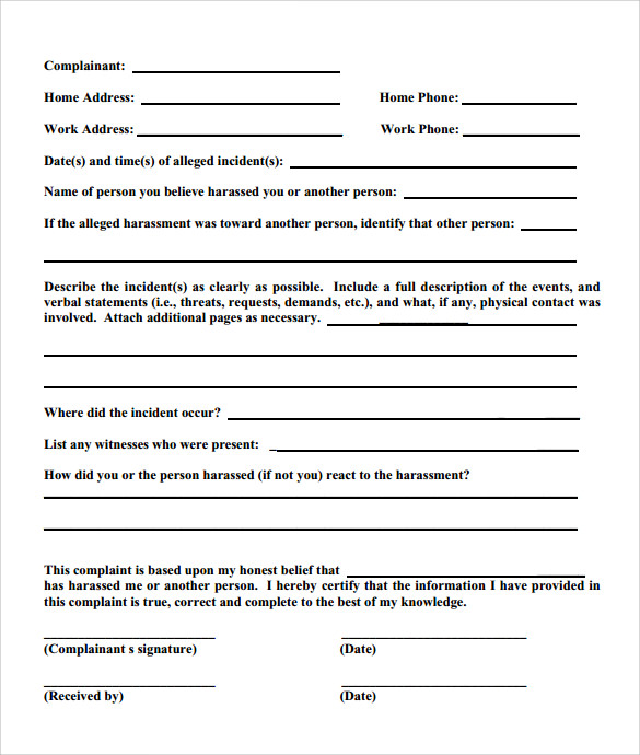 Sample Employee Complaint Form Template   Download Free