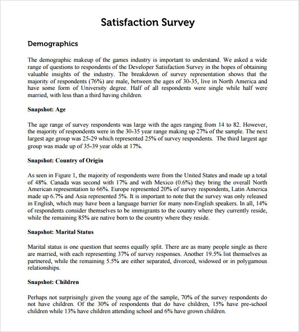 Sample Employee Satisfaction Survey   Example Format