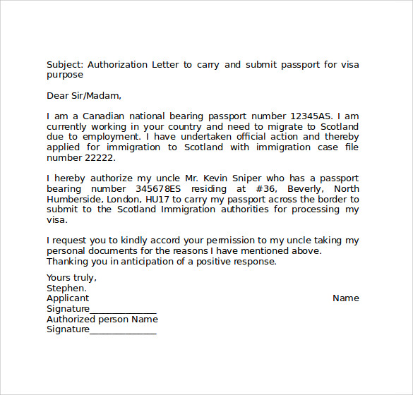 Passport Authorization Letter Authorization Letter Format For