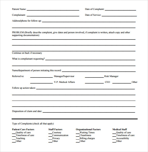 Sample Patient Complaint Form Medicare Claim Form Medical Claim Can