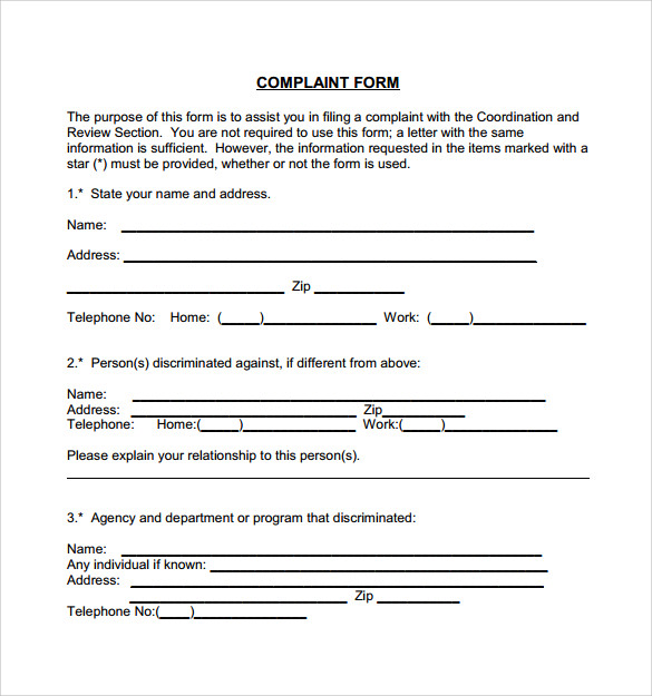 Civil Complaint Form Example  Free Customer Complaint Form Template