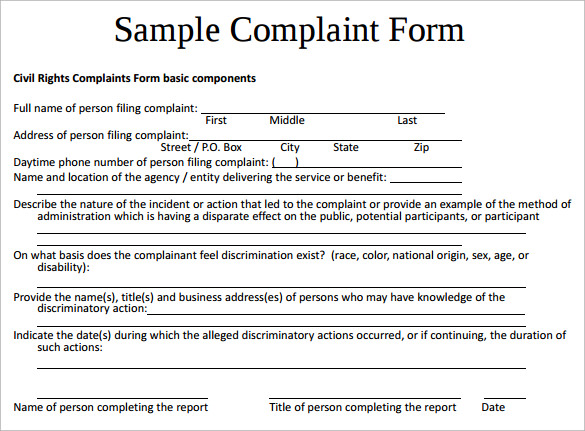 Sample Civil Complaint Form