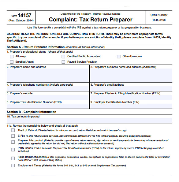 Irs Complaint Form | Sample Irs Complaint Form 6 Free Documents In Pdf
