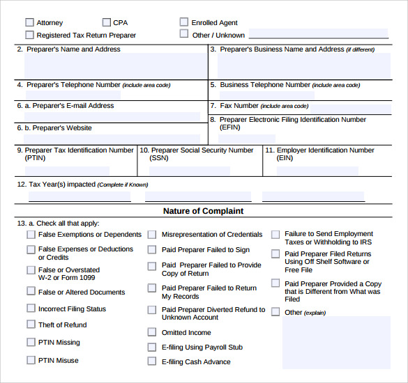 Sample Irs Complaint Form   Free Documents In Pdf