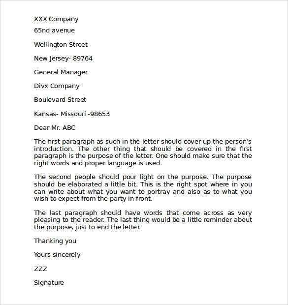 business letter template word