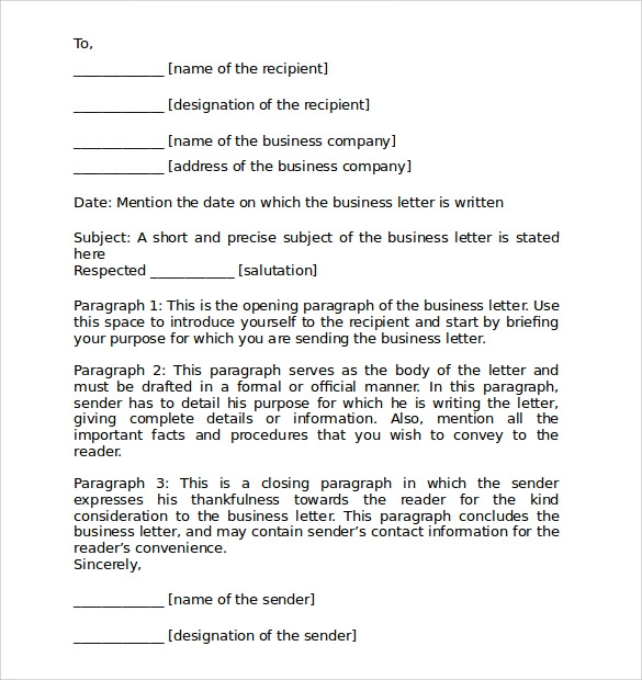 letter templates for business