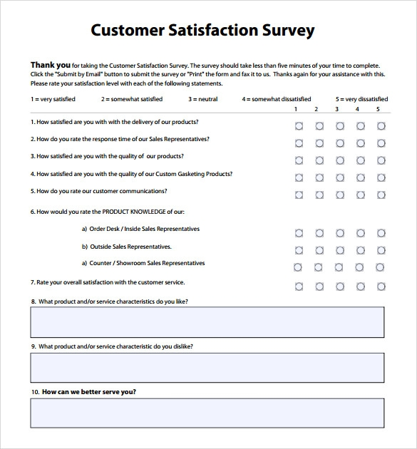 customer service questionnaire example