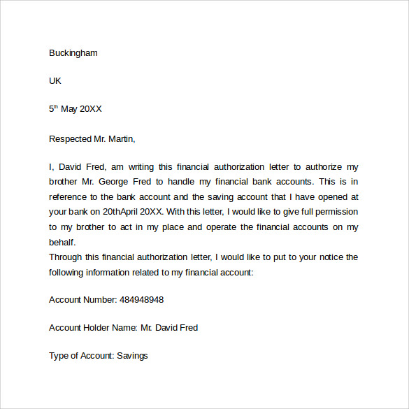 sample of bank authorization letter