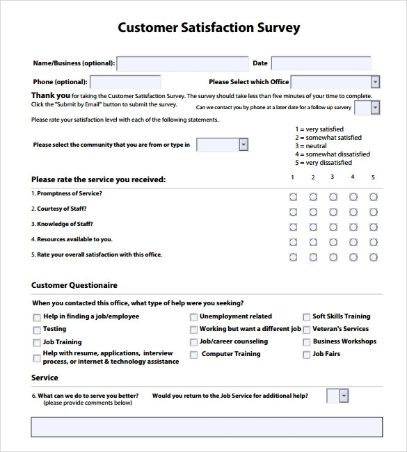 Customer Survey Examples  BesikEightyCo