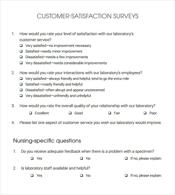 Sample Customer Satisfaction Survey   Documents In Pdf Word