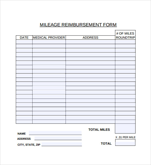 Sample Mileage Reimbursement Form - 8+ Download Free Documents In