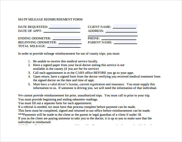 mileage reimbursement form to download