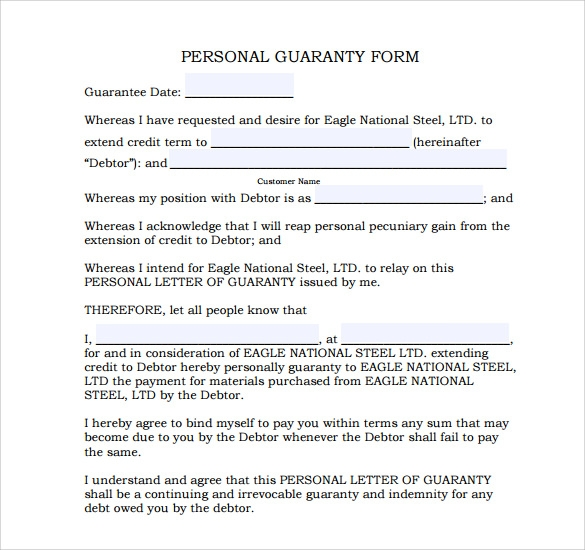 Guarantee Agreement Template 28 Images Sle Corporate