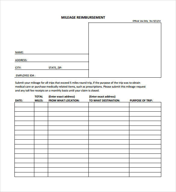 Sample Mileage Reimbursement Form   Download Free Documents In