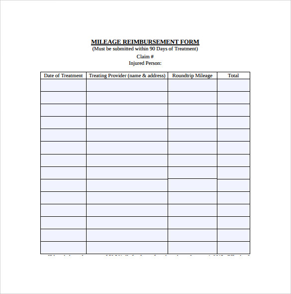 free 8  sample mileage reimbursement forms in pdf