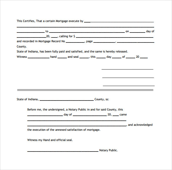 example of satisfaction of mortgage form