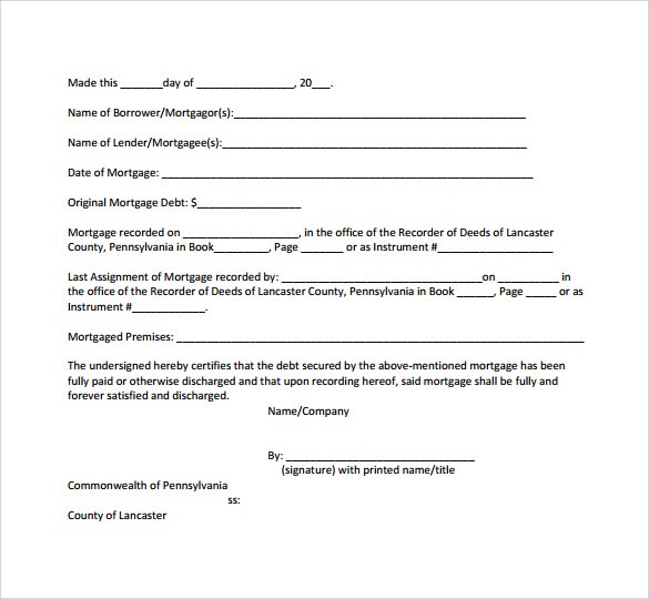 Sample Satisfaction Of Mortgage Form   Download Free Documents