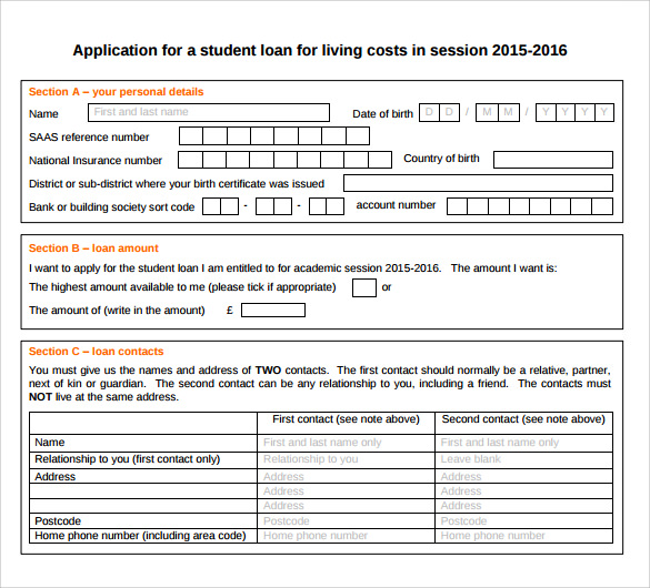 Sample Students Loan Application Form   Download Free Documents