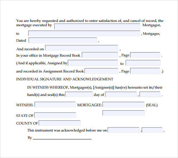 satisfaction of mortgage form in pdf