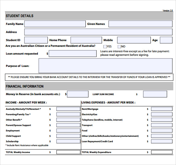 Sample Loan Application – Students Loan Application Form