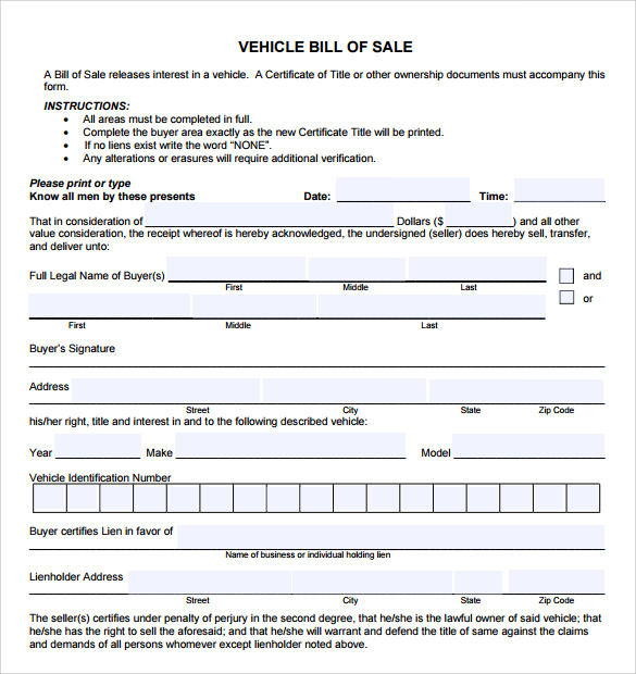 Car Bill Of Sale Templates   Download Free Documents In Pdf  Word