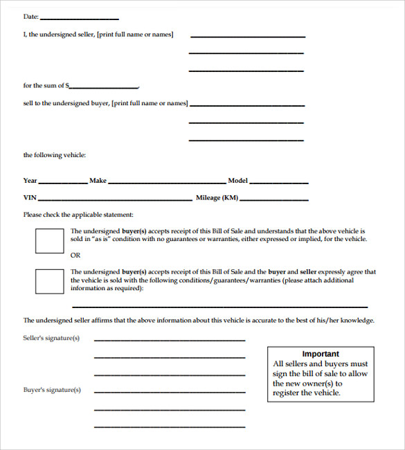 car bill of sale form template