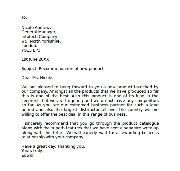 Format For Business Letter Template