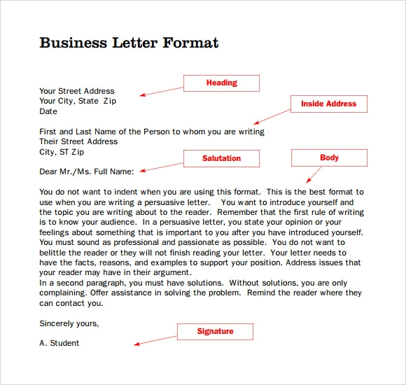 format for business letter without letterhead