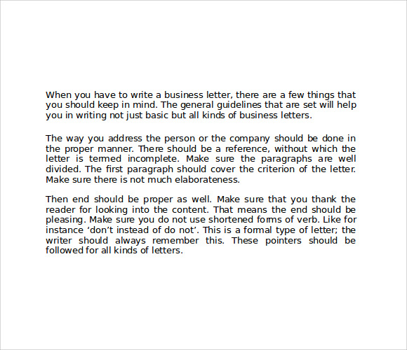 Business Letter Format Sample 8 Download Free Documents