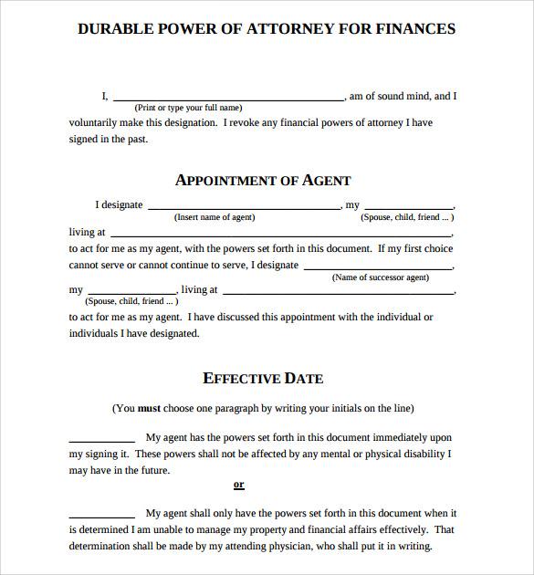 Sample Durable Power Of Attorney Form   Free Documents In Pdf Word
