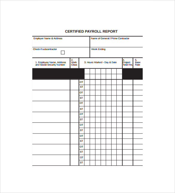 Certified Payroll Form Certified Payroll Form In Excel Certified
