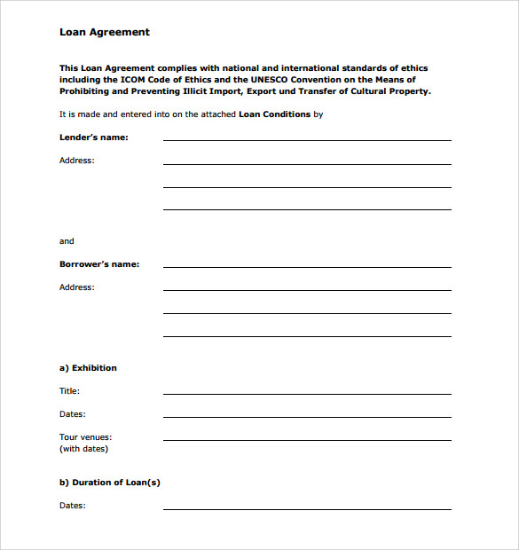 sample personal loan agreement 6 free download free