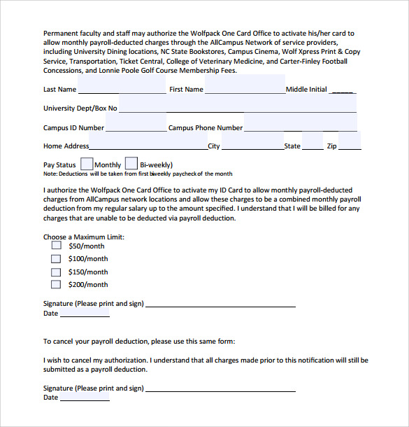 sample payroll deduction form