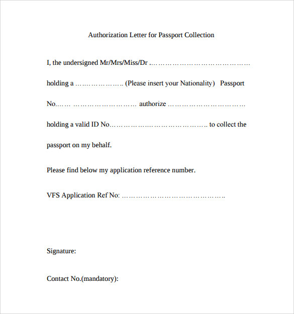 Sample Passport Authorization Letter   Free Documents In Pdf Word