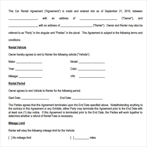 11 car rental agreements sample templates for Renting contract template