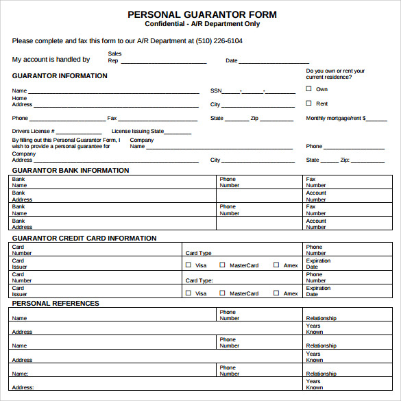 10 personal guarantee forms to download sample templates for Personal surety template